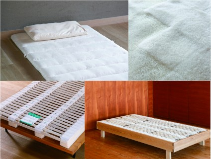 汀渚ばさら邸/漣のはなれ寝具(馬毛敷き布団、ムートンベッドパッド、木製スプリング、タモナチュラルベッドフレーム)